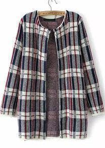 Plaid Loose Knit Cardigan
