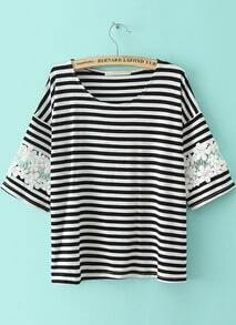Striped Lace Loose T-Shirt