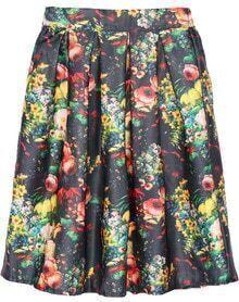 Floral Print Black Pleated Midi Skirt