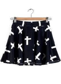 Elastic Waist Cross Print Pleated Skirt