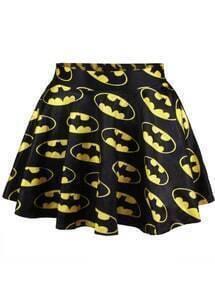 Batman Print Pleated Skirt