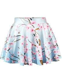 Peach Print Flare Skirt