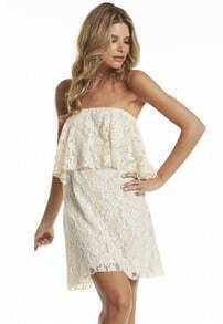 Lace Embroidered Strapless White Dress