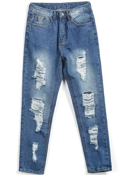 Pockets Bleached Ripped Denim Pant pictures