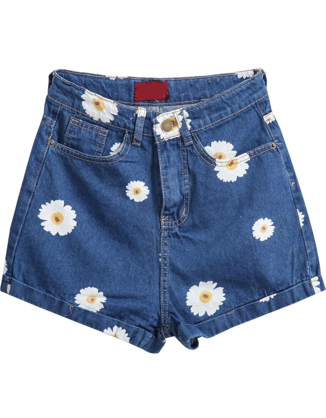 Pockets Daisy Print Denim ShortsFor Women-romwe