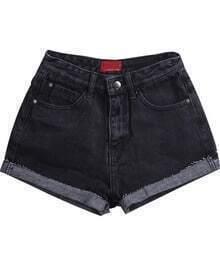 Pockets Fringe Black Denim Shorts