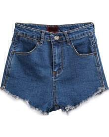 Pockets Fringe Blue Denim Shorts