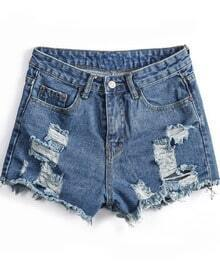 Pockets Ripped Fringe Denim Shorts