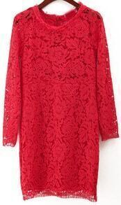 Embroidered Lace Bodycon Red Dress