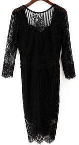 Embroidered Backless Lace Black Dress