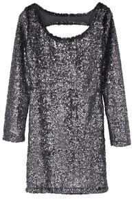 Silver Long Sleeve Hollow Sequined Dress