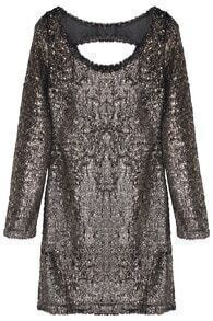 Gold Long Sleeve Hollow Sequined Dress