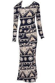 Tribal Print Hollow Maxi Dress