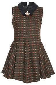 Sleeveless Plaid Flouncing Dress-Khaki
