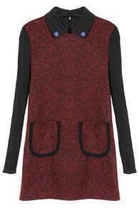 Contrast Knit Pockets Red Dress