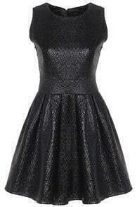 Sleeveless Pleated PU Black Dress
