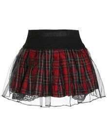 Elastic Waist Plaid Organza Red Skirt