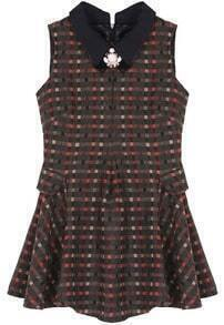 Polka Dot Lapel Dress-Khaki