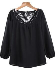 Hollow Loose Blouse-Black