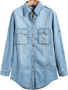 Lapel Pockets Denim Blouse