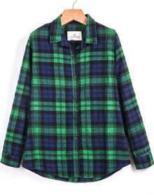 Plaid Pockets Green and Blue Blouse