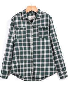 Plaid Pockets Green Blouse
