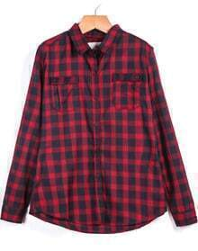 Plaid Pockets Red Blouse