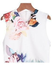 V Neck Floral Crop Blouse