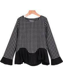 Check Print Ruffle Blouse