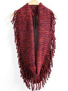 Tassel Cable Knit Wine Red Scarve