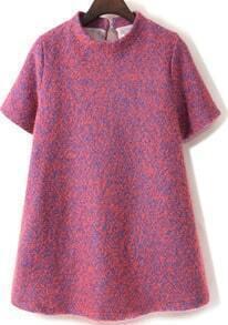 Stand Collar Loose Woolen Red Dress