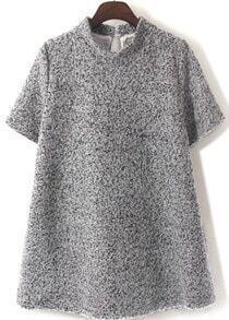 Stand Collar Loose Woolen Grey Dress