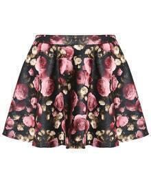 Rose Print PU Black Skirt