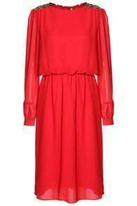 Sequined Pleated Chiffon Dress