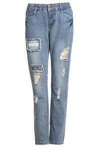 Letters Print Ripped Vintage Pant