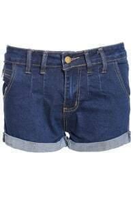 Flange Straight Denim Shorts