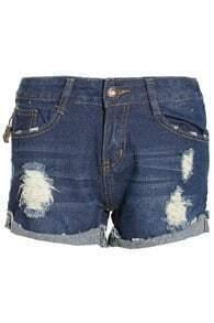 Ripped Flange Straight Denim Shorts