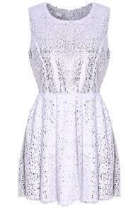 Silver Stamping Sleeveless Faux Fur White Dress
