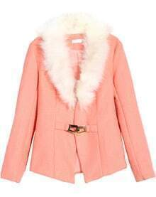 Faux Fur Collar Buckled Pink Coat