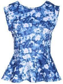Floral Print Flouncing Blue Blouse