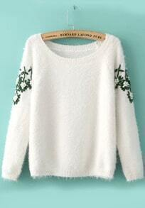 Embroidered Bead Mohair White Sweater