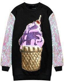 Ice Cream Print Sequined Color Block Sweatshirt