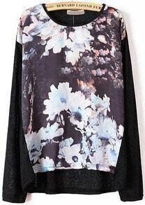 Floral Print Black Knit Sweater