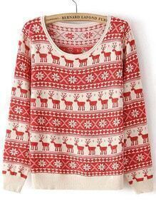 Deer Print Red Knit Sweater