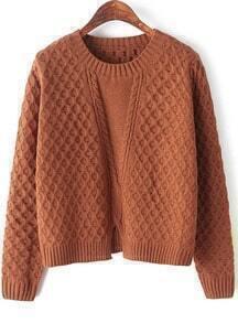 Plaid Hem Split Khaki Knit Sweater