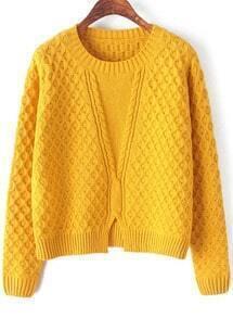 Plaid Hem Split Yellow Knit Sweater