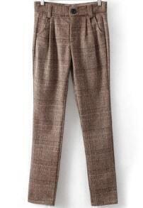 Plaid Woolen Casual Pant