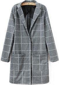 Plaid Pockets Lapel Grey Coat