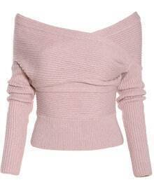 Boat Neck Wrap Front Pink Sweater