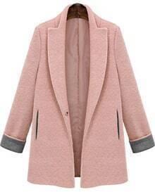 Lapel Pockets Woolen Pink Coat
